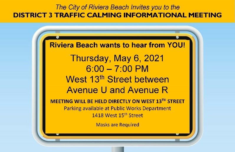 District 3 Traffic Calming Informational Meeting Flyer